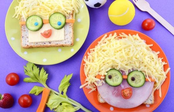 Bocadillos Fríos o Sandwiches para Fiestas para niños carita