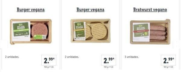 Catalogo comida vegetariana lidl hamburguesas