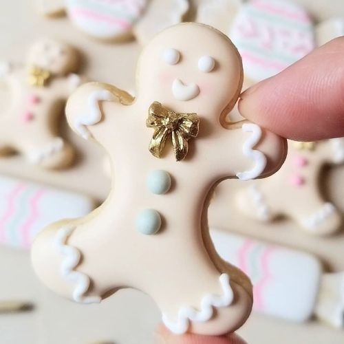 Galletas de Navidad de muñeco de nieve elegante glaseadas