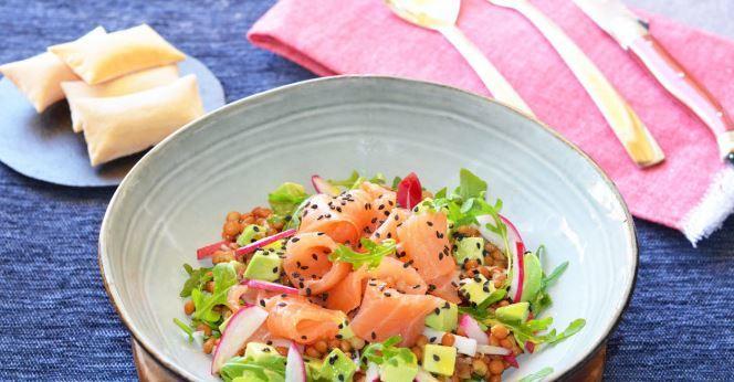 Ensalada para Navidad de Lentejas y salmón