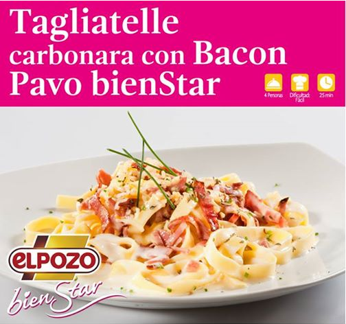 tagliatelle carbonara bacon pavo