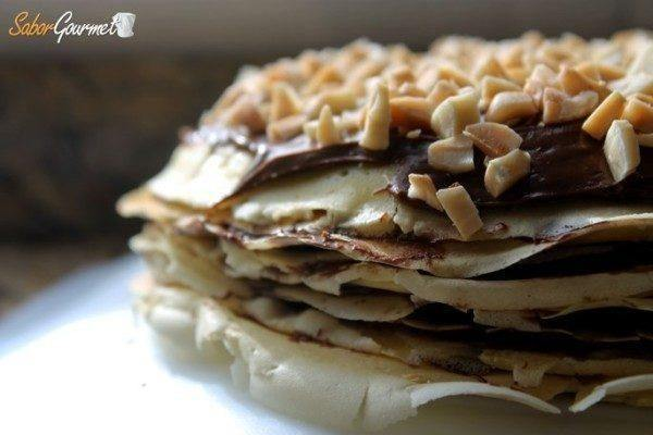 tarta de crepes con chocolate