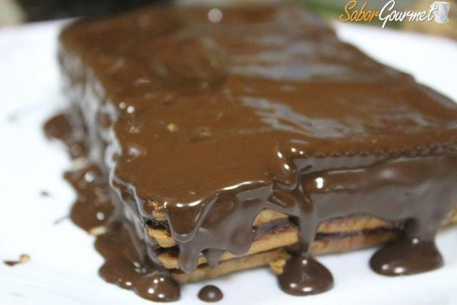 tarta galletas chocolate y mermelada