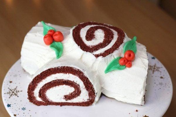 buche-de-noel-para-navidad-tronco-de-navidad-red-velvet-tronco-hecho-decoracion