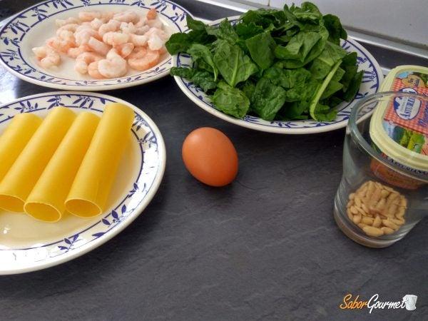 canelones-espinacas-gambas-ingredientes