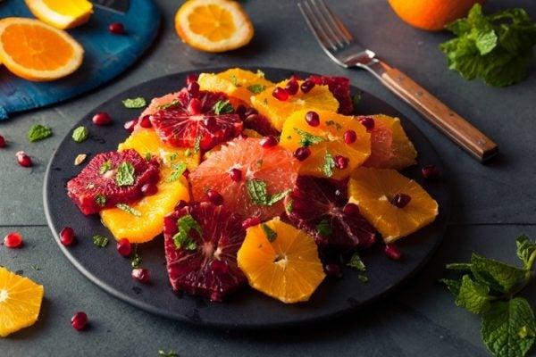 Ensalada naranja pomelo menta