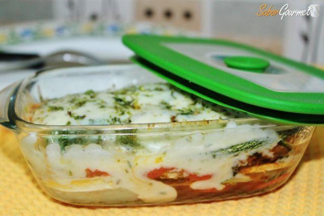 lasaña calabacin y tomate