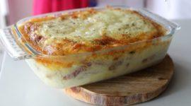 Lasaña de patatas con jamón y queso