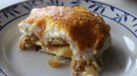 Lasaña de pollo con queso y jamón