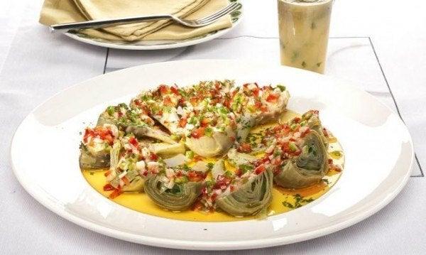 navidad-vegetariana-2013-alcachofas-naturales-con-vinagreta
