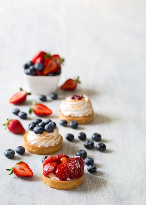 Postres diabeticos tartaletas crema fresas