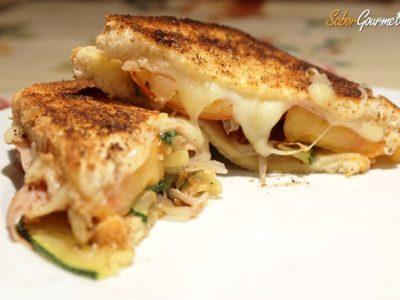 Sandwich de pavo, queso tetilla y verduras